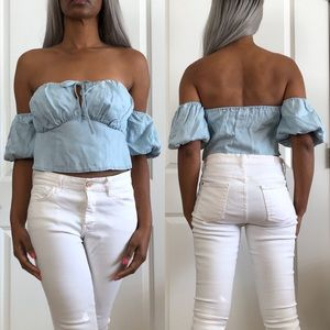 Guess Chambray Off Shoulder Short Sleeve Crop